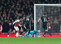 Football - 2017 / 2018 Premier League - Arsenal vs. Manchester United<br /> <br /> Desperate defending from Manchester United as Alexandre Lacazette (Arsenal FC) tries to get the ball out from his feet at The Emirates.<br /> <br /> COLORSPORT/DANIEL BEARHAM