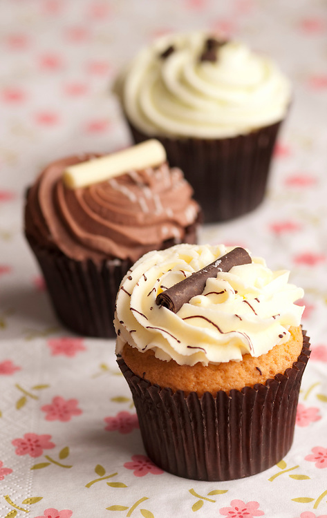 Delicious cupcakes topped with chocolate, peppermint and buttercream