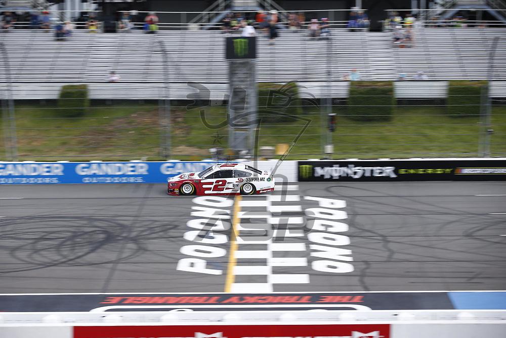 Brad Keselowski (2) takes to the track to practice for the Pocono 400 at Pocono Raceway in Long Pond, Pennsylvania.