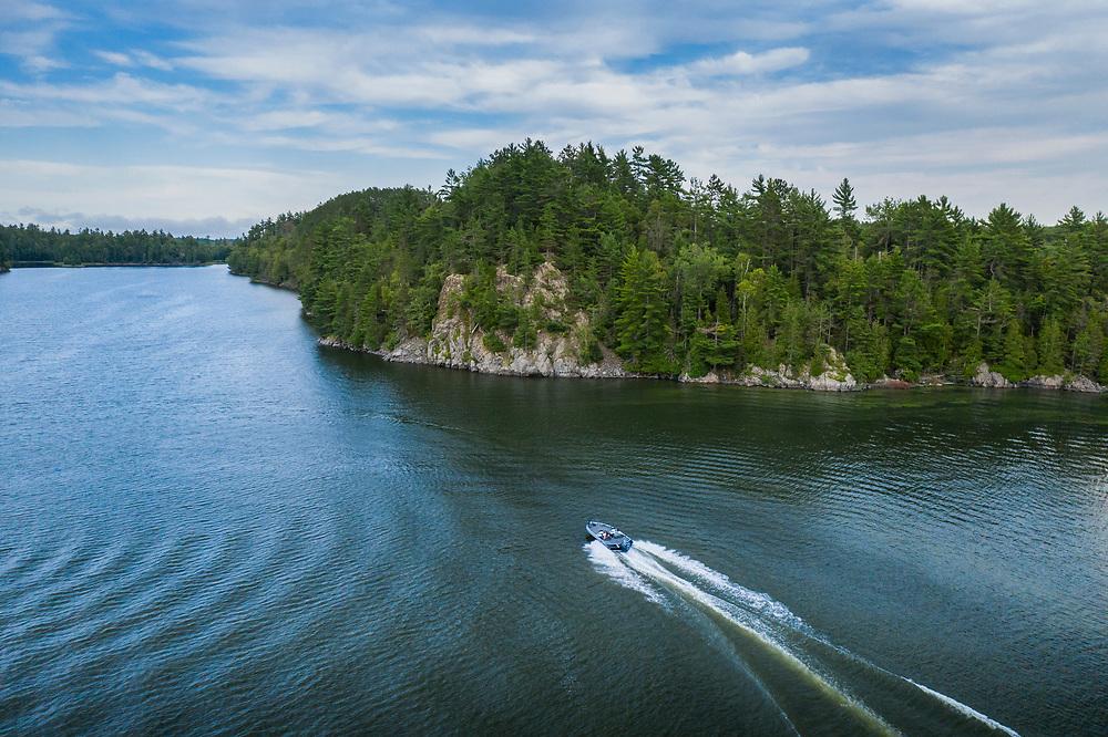 A fishing boat on Deer Lake near Ishpeming, Michigan in Marquette County, Michigan.