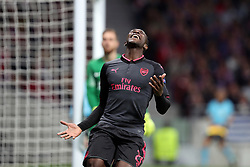 May 3, 2018 - Madrid, Spain - DANNY WELBECK of Arsenal FC reacts after missing a chance to score a goal during the UEFA Europa League, semi final, 2nd leg football match between Atletico de Madrid and Arsenal FC on May 3, 2018 at Metropolitano stadium in Madrid, Spain (Credit Image: © Manuel Blondeau via ZUMA Wire)