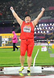 China's Lijiao Gong celebrates winning gold in the Women's Shot Put during day six of the 2017 IAAF World Championships at the London Stadium. PRESS ASSOCIATION Photo. Picture date: Wednesday August 9, 2017. See PA story ATHLETICS World. Photo credit should read: Adam Davy/PA Wire. RESTRICTIONS: Editorial use only. No transmission of sound or moving images and no video simulation