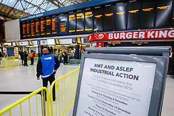 © Licensed to London News Pictures. 13/12/2016. London, UK. Signs show no Southern train services at Victoria Station in London on 13 December 2016, as hundreds of thousands of rail passengers face a 3 day all-out strike in an escalating dispute over the role of conductors between Southern Rail and the RMT Union. Photo credit: Tolga Akmen/LNP
