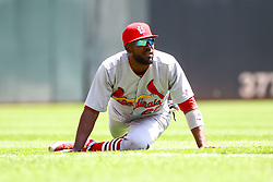 May 16, 2018 - Minneapolis, MN, U.S. - MINNEAPOLIS, MN - MAY 16: St. Louis Cardinals right fielder Dexter Fowler (25) stretches before the start of the regular season game between the St. Louis Cardinals and the Minnesota Twins on May 16, 2018 at Target Field in Minneapolis, Minnesota. (Photo by David Berding/Icon Sportswire) (Credit Image: © David Berding/Icon SMI via ZUMA Press)
