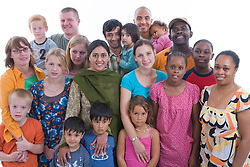 Multiracial group of families in the studio,