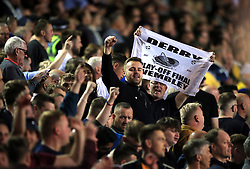 Derby County fans celebrate in the stands during the Sky Bet Championship Play-Off, Semi Final, Second Leg match at Elland Road, Leeds.