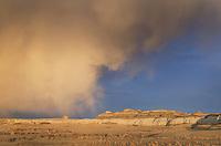 Sunset storm over Bisti Badlands, Bisti/De-Na-Zin Wilderness, New Mexico