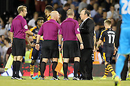 Rafa Benitez, the Newcastle United manager talking to Referee Simon Hooper after the final whistle. Skybet EFL championship match, Fulham v Newcastle Utd at Craven Cottage in Fulham, London on Friday 5th August 2016.<br /> pic by John Patrick Fletcher, Andrew Orchard sports photography.