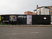 Graffiti in front of development site. Bristol. 20 October 2017