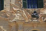 Stonework detail Auberge de Castille palace in city centre of Valletta, Malta completed in 1744