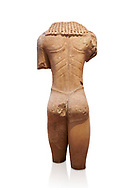 Archaic ancient Greek marble torso of a kouros statue, from Temple of Poseidon, Sounion, circa 600 BC, Athens National Archaeological Museum. Cat no 3645.   Against white.