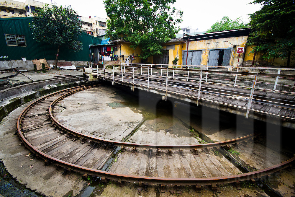 A turntable in the Railway Worker's Khu Tap The, Hanoi, Vietnam, Asia