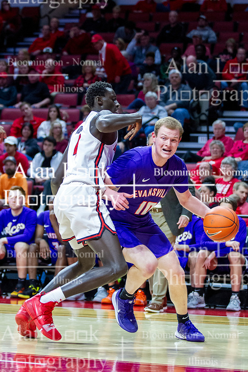 NORMAL, IL - January 29: Evan Kuhlman turns the baseline corner defended by Abdou Ndiaye during a college basketball game between the ISU Redbirds and the University of Evansville Purple Aces on January 29 2020 at Redbird Arena in Normal, IL. (Photo by Alan Look)