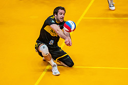 Mats Kruiswijk of Dynamo in action during the cup final between Amysoft Lycurgus vs. Draisma Dynamo on April 18, 2021 in sports hall Alfa College in Groningen