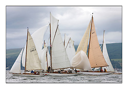 Mignon 1898 Sloop, Viola 1908 Gaff Cutter and Solway Maid 1940 Bermudan Cutter on the startline...Overcast day for sailors heading south from Rhu to Rothesay...* The Fife Yachts are one of the world's most prestigious group of Classic .yachts and this will be the third private regatta following the success of the 98, .and 03 events.  .A pilgrimage to their birthplace of these historic yachts, the 'Stradivarius' of .sail, from Scotland's pre-eminent yacht designer and builder, William Fife III, .on the Clyde 20th -27th June.   . ..More information is available on the website: www.fiferegatta.com . .Press office contact: 01475 689100         Lynda Melvin or Paul Jeffes