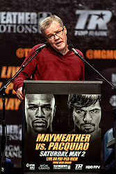 LOS ANGELES, CA - MAR 10 Freddie Roach speaks to press at the Mayweather vs Pacquiao press conference at the Nokia Theater in Los Angeles, California USA to promote their upcoming bout at the MGM Grand in Las Vegas, NV May 2, 2015. This is the ony presser. 2015 Feb 9. Byline, credit, TV usage, web usage or linkback must read SILVEXPHOTO.COM. Failure to byline correctly will incur double the agreed fee. Tel: +1 714 504 6870.