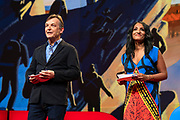 Hosts Chris Anderson and Anna Verghese speak at TED2019: Bigger Than Us. April 15 - 19, 2019, Vancouver, BC, Canada. Photo: Bret Hartman / TED