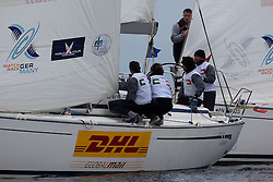 Mark Williams of Team GAC Pindar keeps an eye on Paolo Cian at the start of their match on day 1 of Match Race Germany. World Match Racing Tour. Langenargen, Germany. 20 May 2010. Photo: Gareth Cooke/Subzero Images/WMRT