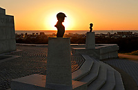 NC01436-00...NORTH CAROLINA - Busts of the Wright brother at the monument commemorating the site of their first flight at Kitty Hawk on the sand dunes of the Outer Banks.