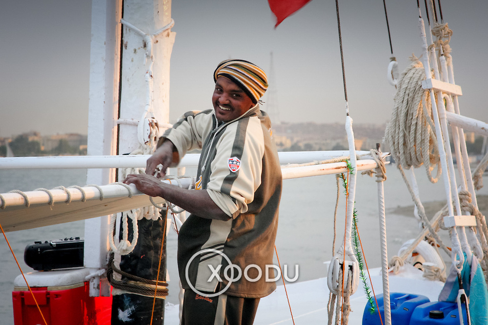 Deck hand working on sail boat, Egypt (January 2008)