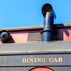 Strasburg, PA, USA - October 6, 2015: Detail of dining car on the Strasburg Rail Road.