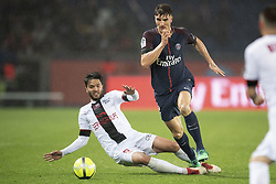 PARIS, April 30, 2018  Thomas Meunier (R) from Paris Saint-Germain competes with Clement Grenier from Guingamp during their match of French Ligue 1 2017-18 season 35th round in Paris, France on April 29, 2018. Paris Saint-Germain equals Guingamp with 2-2 at home. (Credit Image: © Jack Chan/Chine Nouvelle/Xinhua via ZUMA Wire)
