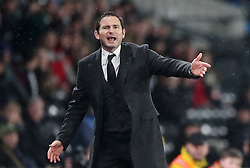 Derby County manager Frank Lampard during the Sky Bet Championship match at Pride Park, Derby.
