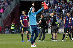 May 12, 2019 - Barcelona, Spain - Marc Andre Ter Stegen greeting the public at the end of the match between FC Barcelona angd Getafe, corresponding to the round 37 of the Liga Santander, played at the Camp Nou Stadium, on 12th May 2019, in Barcelona, Spain. (Credit Image: © Joan Valls/NurPhoto via ZUMA Press)