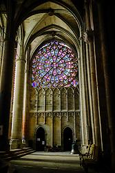 Stained glass windows in the interior of the  Basilique Saint Nazaire in the medieval Cité de Carcassonne, France<br /> <br /> (c) Andrew Wilson   Edinburgh Elite media