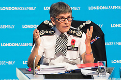November 1, 2018 - London, London, UK - London, UK. Cressida Dick CBE QPM, Commissioner of the Metropolis attends a London Assembly meeting on crime in the capital covering topics including tackling crime, future challenges for policing, tackling violence against women and girls and reducing road crime. (Credit Image: © Ray Tang/London News Pictures via ZUMA Wire)