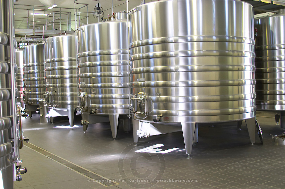 The brand new winery (cuverie) with stainless steel fermentation tanks - Chateau Belgrave, Haut-Medoc, Grand Crus Classee 1855