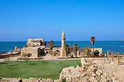 The mosque, erected by Moslems from Bosnia, Caesarea, a town built by Herod the Great about 25 - 13 BC, lies on the sea-coast of Israel about halfway between Tel Aviv and Haifa, Remains of all the principal buildings erected by Herod existed down to the end of the 19th century. Remains of the medieval town are also visible, consisting of the walls (one-tenth the area of the Roman city), the castle, the site of the modest Crusader cathedral and church.