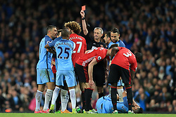 27th April 2017 - Premier League - Manchester City v Manchester United - Referee Martin Atkinson shows the red card and sends off Marouane Fellaini of Man Utd - Photo: Simon Stacpoole / Offside.