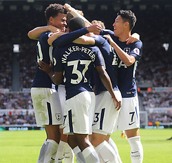 13 August 2017  : Premier League Football : Newcastle United v Tottenham Hotspur:  Dele Alli of Tottenham gets a playful pat on the head from the banaged arm of Son Heung-Min as they celebrate the first goal : Photo: Mark Leech