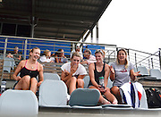 Sydney, Australia. Sydney International Rowing Regatta. held at the Sydney International Rowing Centre, Penrith Lakes, NSW.   GBR W4X, relax, watching racing, Monica RELPH [left], Olivia CARNEGIE-BROWN [centre left], Zoe LEE [centre right], Kristina STILLER [right]. Tuesday   19/03/2013 [Mandatory Credit. Karon Phillips/Intersport Images]..