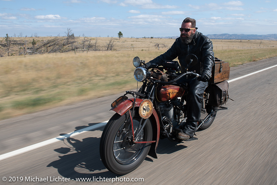 Shane Masters riding his 1925 Indian Chief in the Motorcycle Cannonball coast to coast vintage run. Stage 10 (299 miles) from Sturgis, SD to Billings, MT. Tuesday September 18, 2018. Photography ©2018 Michael Lichter.