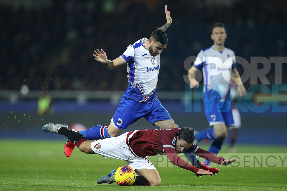 Simone Verdi of Torino FC goes down as he is tackled by Nicola Murru of Sampdoria during the Serie A match at Stadio Grande Torino, Turin. Picture date: 8th February 2020. Picture credit should read: Jonathan Moscrop/Sportimage