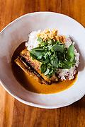 Seared pink snapper in Cambodian style kuri sauce, coconut sambal