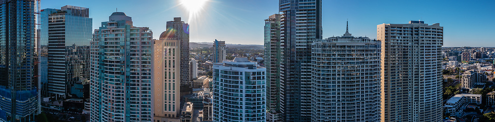 Panoramic aerial view of high rise buildings in the Central Business Distict of Downtown Brisbane, Queensland, Australia