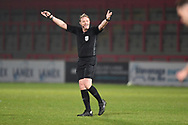Referee Trevor Kettle during the EFL Sky Bet League 2 match between Stevenage and Cheltenham Town at the Lamex Stadium, Stevenage, England on 20 April 2021.