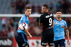 December 15, 2018 - Sydney, NSW, U.S. - SYDNEY, NSW - DECEMBER 15: Western Sydney Wanderers forward Oriol RieraÊ(9) and Sydney FC midfielder Brandon O'neill (13) watch the ball at the Hyundai A-League Round 8 soccer match between Western Sydney Wanderers FC and Sydney FC at ANZ Stadium in NSW, Australia on December 15, 2018. (Photo by Speed Media/Icon Sportswire) (Credit Image: © Speed Media/Icon SMI via ZUMA Press)