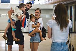 Ziga Dimec with his family during arrival of Slovenian national team from Tokio 2020 Olympic games, 8. August 2021, Airport Jozeta Pucnika, Ljubljana, Slovenia. Photo by Grega Valancic