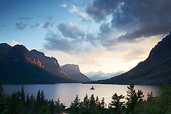 Wild Goose Island, St. Mary Lake, Sunset, Glacier National Park, Montana