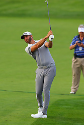 May 16, 2019 - Farmingdale, NY, U.S. - FARMINGDALE, NY - MAY 16:  Dustin Johnson of the United States hits from the fairway on the 18th hole during the first round of the 2019 PGA Championship at the Bethpage Black course on May 16, 2019 in Farmingdale, New York. (Photo by Rich Graessle/Icon Sportswire) (Credit Image: © Rich Graessle/Icon SMI via ZUMA Press)
