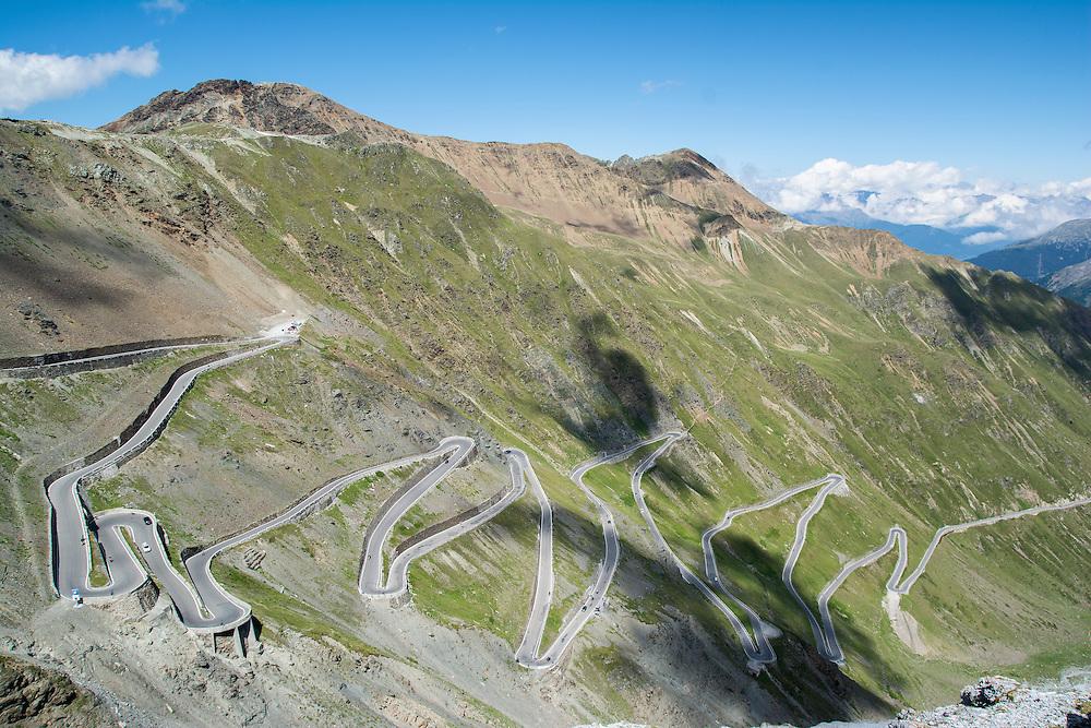 The Stelvio Pass in the Italian Alps.