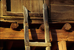 North America, United States, New Mexico, Santa Fe, old ladder and wood house