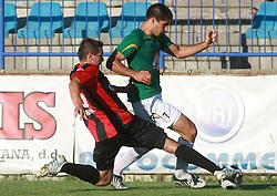 Igor Krstic (16) of Primorje and Edin Junuzovic (7) of Rudar at 6th Round of PrvaLiga Telekom Slovenije between NK Primorje Ajdovscina vs NK Rudar Velenje, on August 24, 2008, in Town stadium in Ajdovscina. Primorje won the match 3:1. (Photo by Vid Ponikvar / Sportal Images)