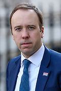 British lawmaker Matt Hancock, Secretary of State for Health and Social Care, arrives in Downing Street in London, Wednesday, March 25, 2020, British lawmakers will vote later Wednesday to shut down Parliament for 4 weeks, due to the coronavirus outbreak. (Photo/Vudi Xhymshiti)