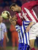 Fotball<br /> UEFA Cup 2003/2004<br /> Røde Stjerne / Red Star / Crvena Zvezda v OB / Odense<br /> 15.10.2003<br /> Foto: Digitalsport<br /> <br /> Steffen Højer of BK Odense in action against Dragan Mladenovic of Red Star during their UEFA cup match at Red Star stadium in Belgrade on October 15th