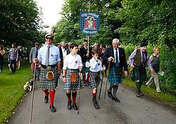 Inveraray and District Pipe Band and His Grace The Duke of Argyll lead the parade from Inveraray town centre to the games field at Inveraray Castle. Competitions include Piping, Highland Dancing, Heavy and Light events as well as the World Caber Tossing Championship.   (c) Stephen Lawson   Edinburgh Elite media